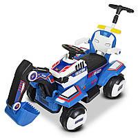 Детская каталка-электромобиль Трактор M 4321LR-4-1 с кожаным сиденьем и мотором на аккумуляторе на р/у