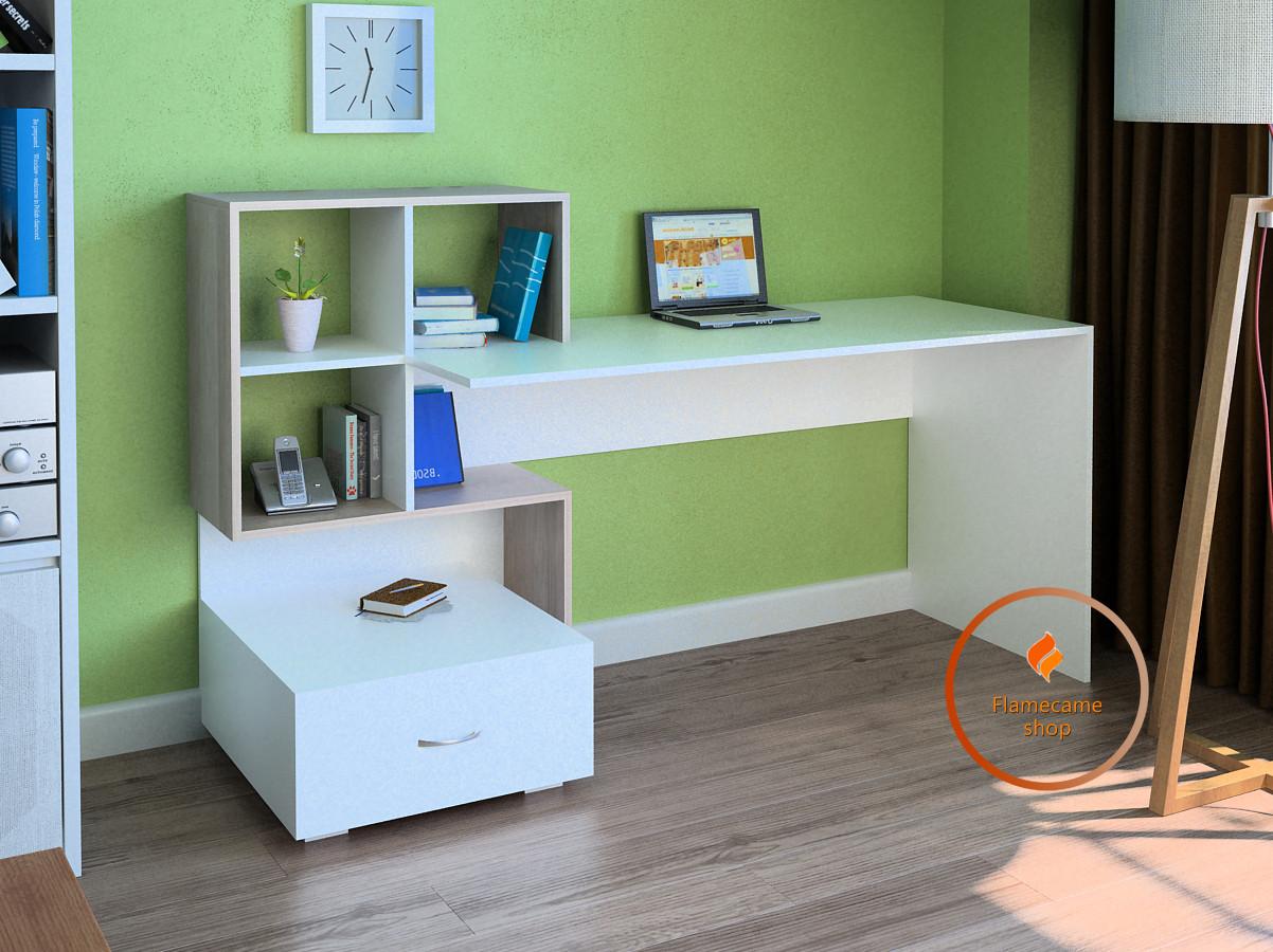 Комп'ютерний стіл з полками та ящиком з ДСП. Код: LG-48-3192