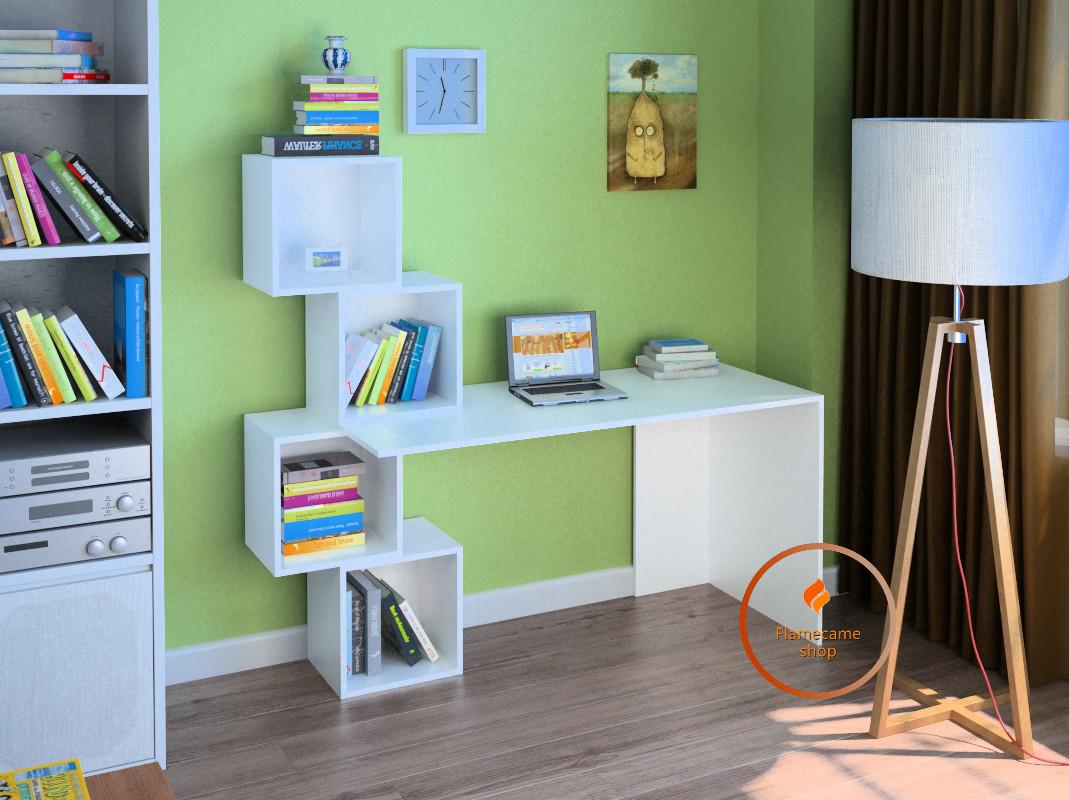 Компьютерный стол с квадратными полками из ДСП. Код: LG-55-3192