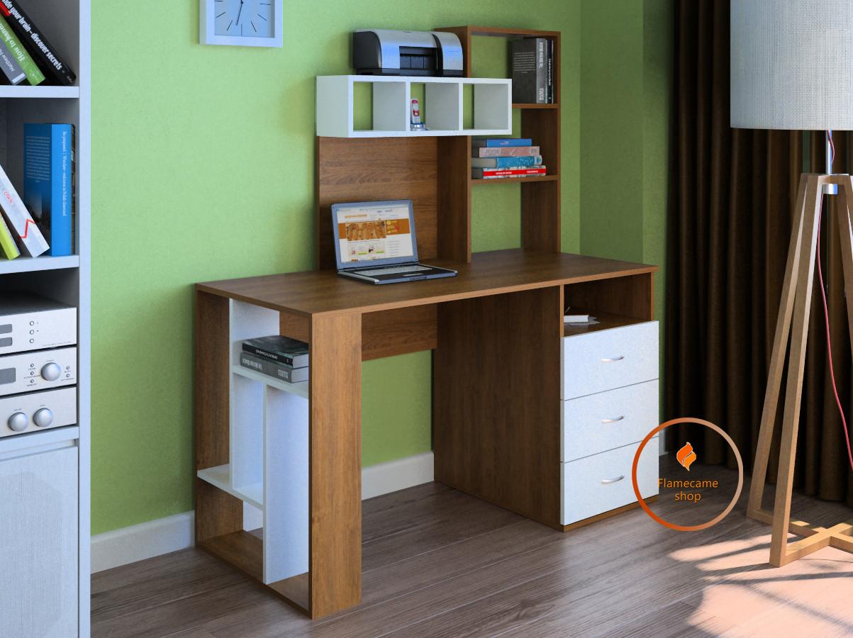 Компьютерный стол с ящиками и полками сверху из ДСП. Код: LG-22-3192