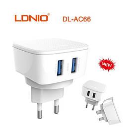 Зарядное устройство LDNIO DL-AC66 2400 mAh 2 Usb + кабель iphone white
