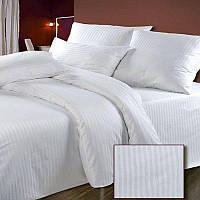 Комплект постельного белья Hotel Евро из страйп-сатина белый 1/1 см простынь на резинке