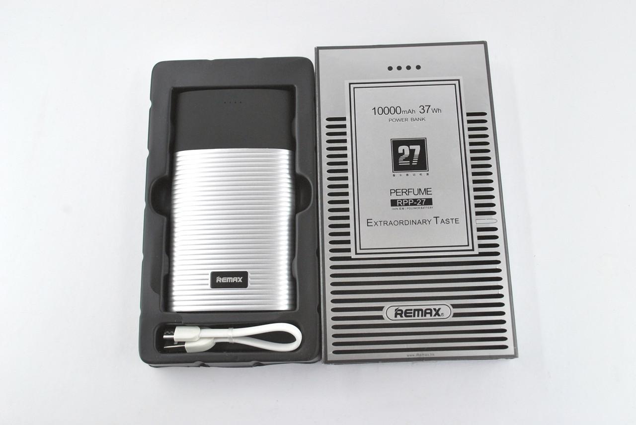 Павербанк Power Bank 10000mAh Remax Perfume RPP-27 (2Usb, дисплей, carbon, фонарик) grey