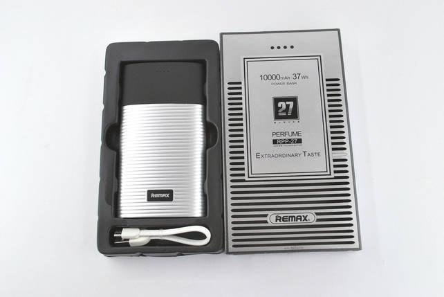 Павербанк Power Bank 10000mAh Remax Perfume RPP-27 (2Usb, дисплей, carbon, фонарик) grey, фото 2
