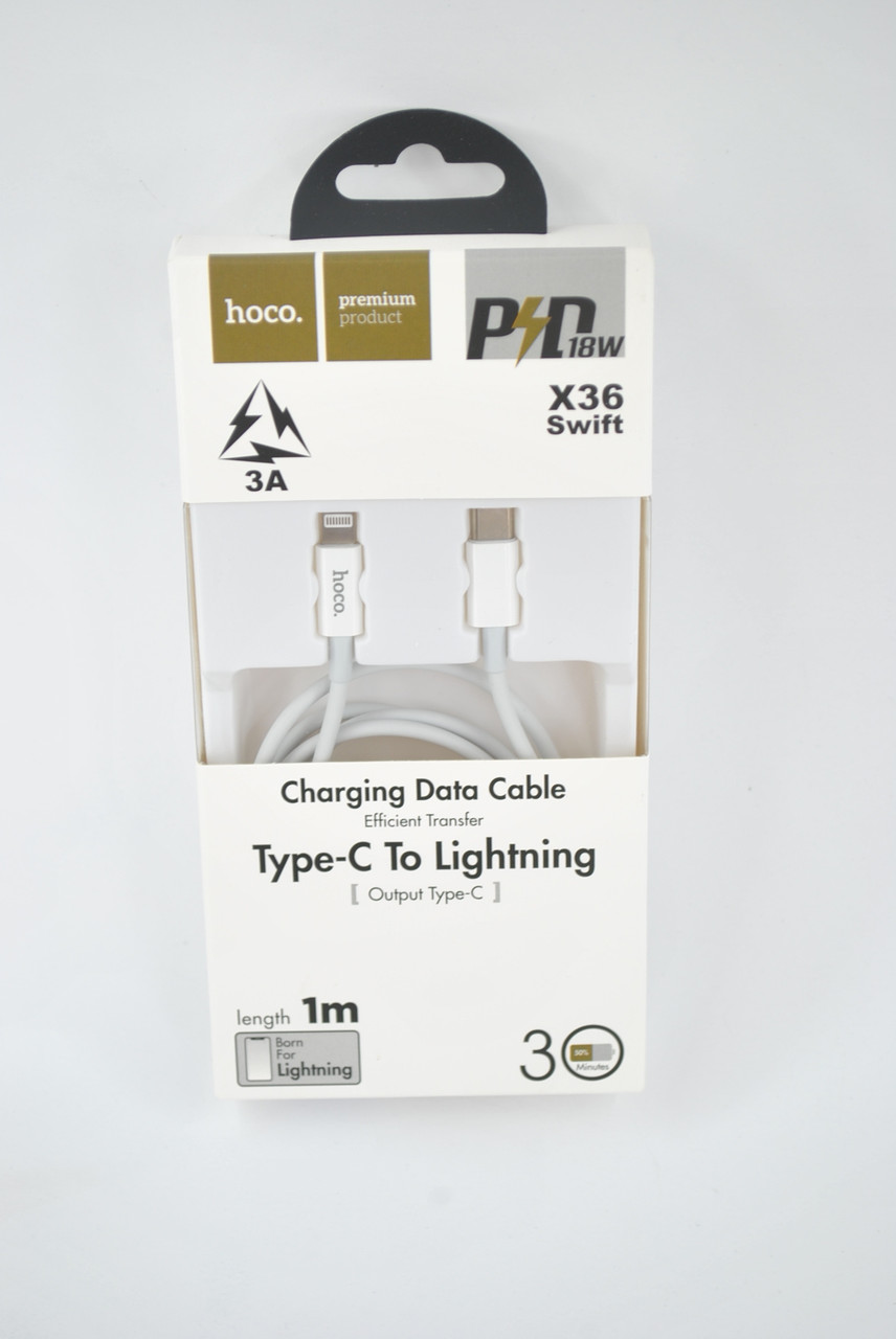 Кабель Usb-cable Type-C HOCO X36 to Lightning Swift PD 3A 1m (круглый) White