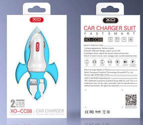 Автомобильное зарядное устройство XO CC-08 2.4A 2 Usb + кабель Lightning white