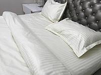 Евро комплект постельного белья Страйп-Сатин (100% хлопок) Постільна білизна (не жатка)