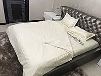 Полуторный комплект постельного белья Страйп-Сатин (100% хлопок) Постільна білизна