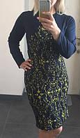 Платье Батальное Галочка фукра арнамент желтый