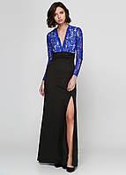 Длинное платье синее с черным с кружевом