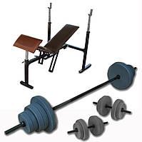 Штанга 60 кг + гантели по 15 кг + лавка для жима лёжа. Строй Спорт