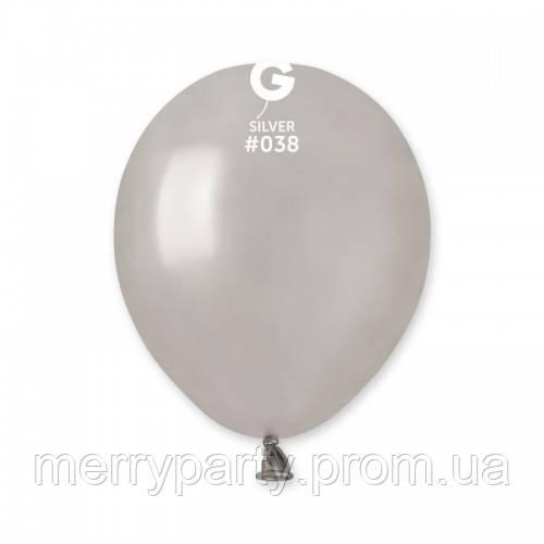 "5""(13 см) металлик серебро G-38 Gemar Италия латексный шар"