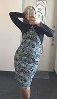 Платье Батальное Галочка фукра серая клетка
