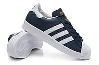 Мужские кроссовки Adidas Superstar сине-белые