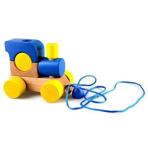 """Детская игрушка Мягкая игрушка-конструктор """"Паровозик Малыш"""" с веревкой (синяя) Ду-01с"""