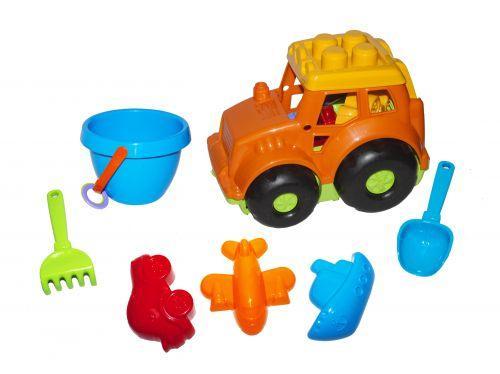 """Детский игрушечный трактор """"Конек №3"""" с песочным набором (оранжевый) 0220"""