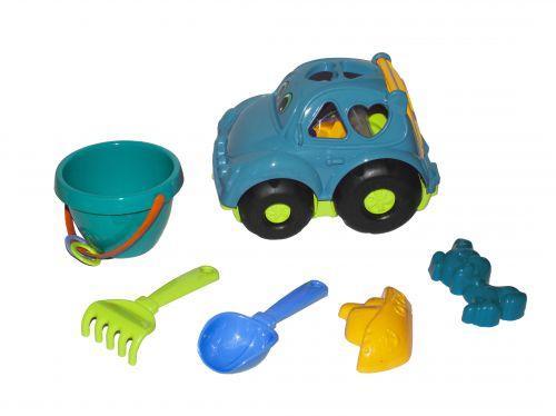 """Детская развивающая игрушка - сортер машина """"Автошка"""" №3 (бирюзовая) с большим песчаным набором 0305"""