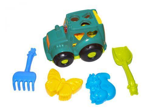"""Детская развивающая игрушка - сортер трактор """"Конек"""" №2 (бирюзовый) с песочным набором 0336"""