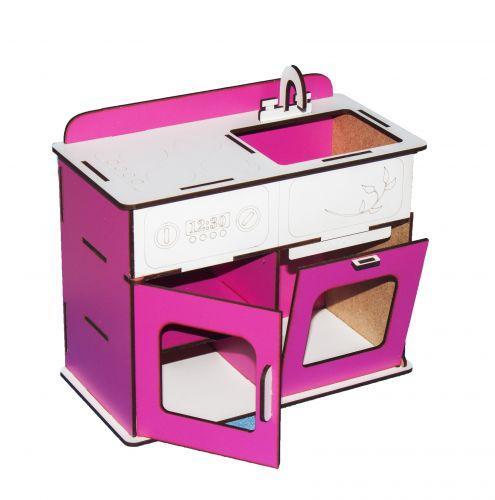Игрушечная мебель для кукол Кухня (бело-розовая) Б2