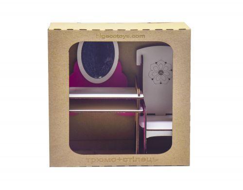 Игрушечная мебель для кукол Трюмо + стул (бело-розовый) Б34р
