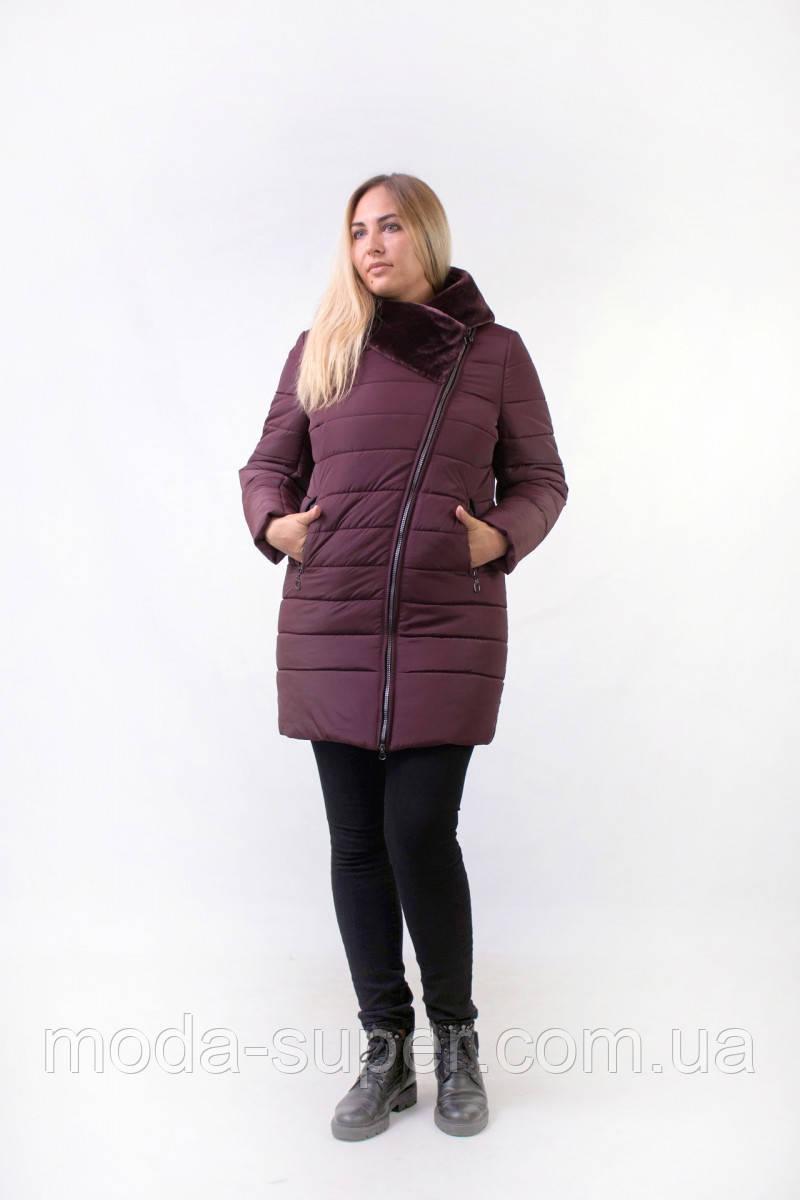 Женская зимняя куртка с мехом эко-мутон  рр 48-54