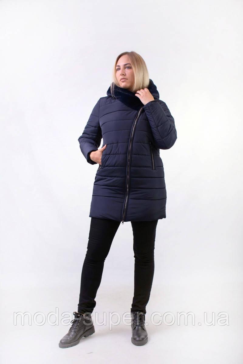 Жіноча зимова куртка з хутром еко-мутон рр 48-54