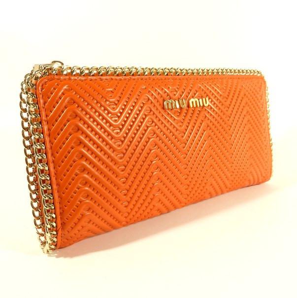 Кошелек кожаный женский MIU MIU оранжевый 0810