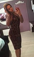 Платье  Галочка фукра коричневый арнамент