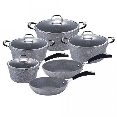 Набор кухонной посуды Berlinger Haus BH-1170N Gray Stone Touch Line 10 предметов с антипригарным покрытием