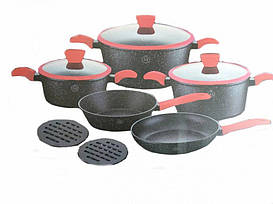 Набор посуды 10 предметов Meisterklasse MK-1049 с антипригарным покрытием и ручками с бакелита