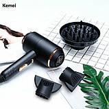 Професійний фен для волосся Kemei KM-8896 з дифузором 4000 Вт, фото 5