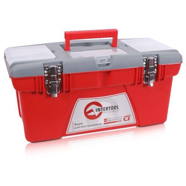 """Скринька для інструментів з металевими замками, 18"""" 480x250x230 мм INTERTOOL BX-0518"""