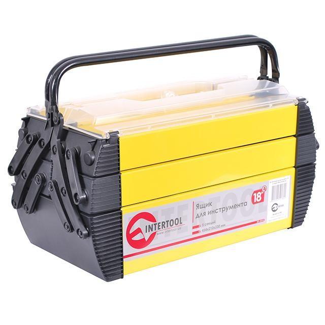 """Скринька для інструментів металевий, 18"""", 5 секцій, 454x210x230 мм INTERTOOL BX-5018"""