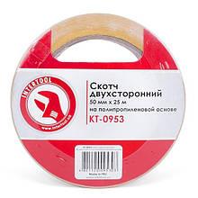 Скотч двосторонній 50 мм*25 м на поліпропіленовій основі INTERTOOL KT-0953