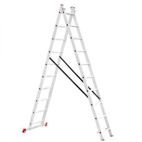 Лестница алюминиевая 2-х секционная универсальная раскладная 2x10 ступ. 4,81 м INTERTOOL LT-0210, фото 2