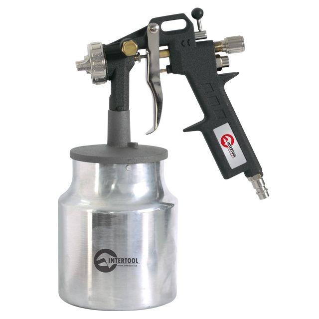 Пневматичний фарборозпилювач HP, форсунка 1.5 мм, нижній металевий бачок 1000мл., 5бар INTERTOOL PT-0211