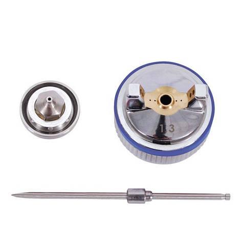Комплект форсунки 1.3мм для краскопультов HVLP II PT-0100, РТ-0105, РТ-0105D (дюза, воздушная головка, игла) INTERTOOL PT-2113, фото 2