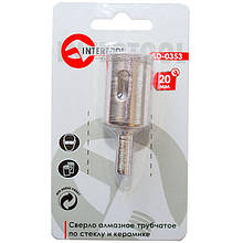 Сверло алмазное трубчатое по стеклу и керамике 20 мм INTERTOOL SD-0353