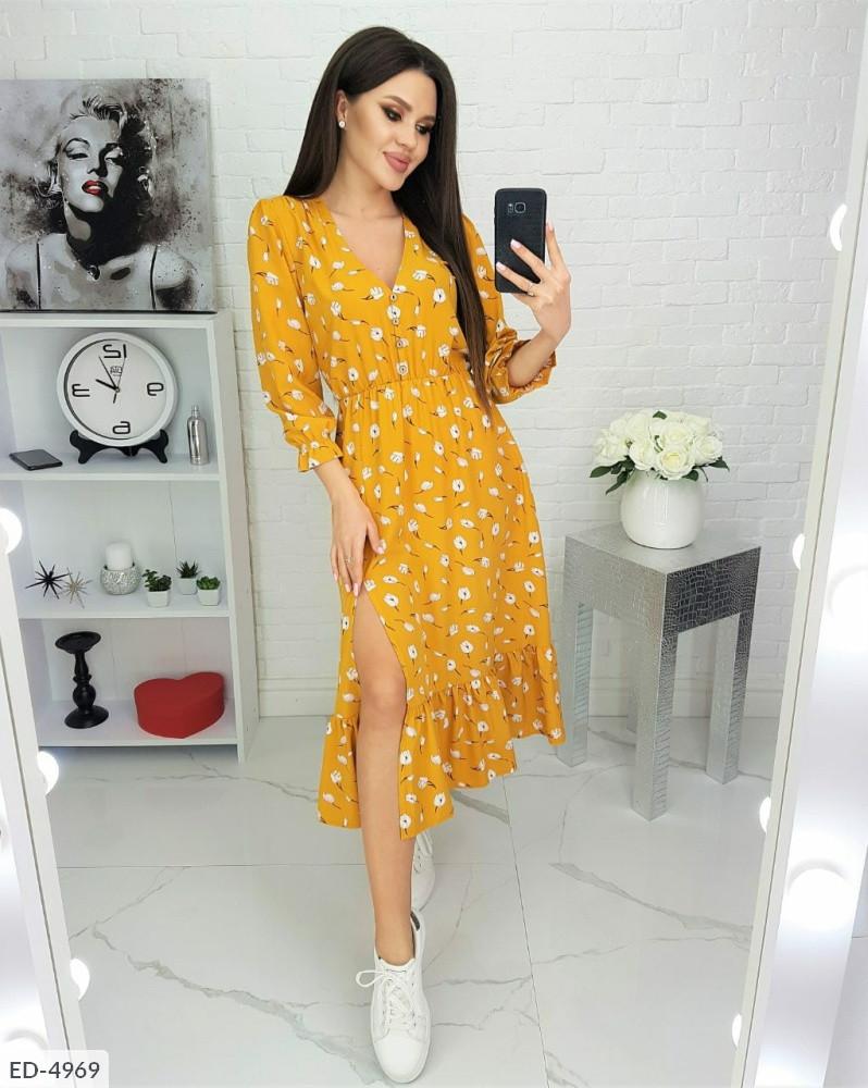 Платье легкое с принтом горчица SKL11-259405