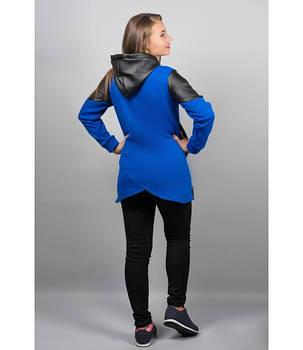 Женская толстовка в капюшоном цвет електрик Скарлет размер 46-52, фото 2