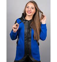 Женская толстовка в капюшоном цвет електрик Скарлет размер 46-52, фото 3