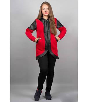 Женская толстовка в капюшоном цвет красный Скарлет размер 46-52, фото 2