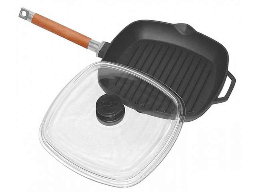 Сковорода гриль чугунная Биол (1026С) со стеклянной крышкой d=260 мм