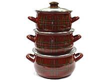 Набор эмалированной посуды Interos Шотландка 3 предмета(2997)