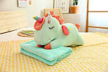 Плед іграшка подушка 3 в1 Єдиноріг   Іграшка дитячий плед   Іграшки-Подушки   М'яка іграшка Рожевий, фото 9