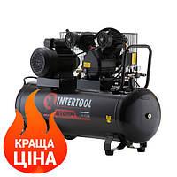 Компрессор 100 л, 3 кВт, 220 В, 8 атм, 500 л/мин, 2 цилиндра INTERTOOL STORM PT-0014, фото 1