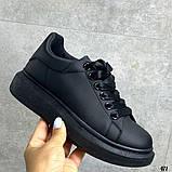 Женские кроссовки кеды Макквин черные, фото 4