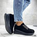 Женские кроссовки черные из натуральной кожи, фото 4