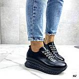 Женские кроссовки черные из натуральной кожи, фото 3