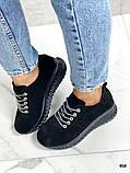 Женские кроссовки черные из натуральной кожи, фото 5